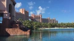 View near the Atlantis Hotel in Dubai Stock Footage