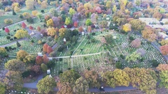 Aerial shot of a New York Cemetary shot in 4k Stock Footage