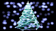 Abstract green christmas tree on black background with snow. and colour balls Stock Illustration