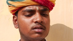 Rajastani young man in Jaipur, India Stock Footage