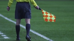 Linesman at Soccer Game Stock Footage