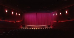 Curtain opening in theater scene or cinema screen Stock Footage