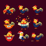 Rooster Cartoon Character Set With A Cock Representing Chinese Zodiac Symbol Of Stock Illustration