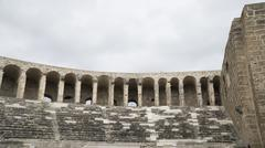 Detail view of historical old ancient city of Aspendos amphitheater. Stock Photos