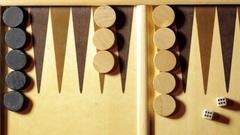 Backgammon double six dice Stock Footage