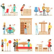 Smiling Shoppers In Furniture Shop, Shopping For House Decor Elements With Help Stock Illustration