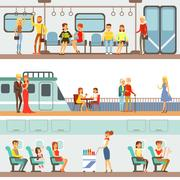 Smiling People Taking Different Transport, Metro, Plane And Ship Set Of Cartoon Stock Illustration