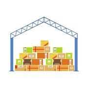 Warehouse Building Metal Roof Construction With Piled Up Paper Box Packages Piirros