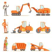 Smiling Road Construction And Repair Workers In Uniform And Heavy Trucks At Stock Illustration