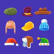 Different Types Of Hats And Caps, Warm And Classy For Kids And Adults Set Of Stock Illustration