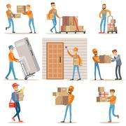 Different Delivery Service Workers And Clients, Smiling Couriers Delivering Food Stock Illustration