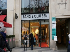 Bang and Olufsen store facade in Paris, Champs Elysees Stock Footage