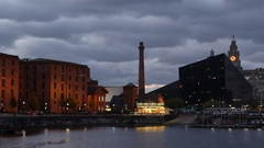 The Albert Dock complex on Liverpool Waterfront Stock Footage
