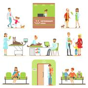 Smiling Cartoon Characters Bringing Their Pets For Vet Examination In Veterinary Stock Illustration