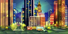 Night city, vector illustration low poly style Piirros