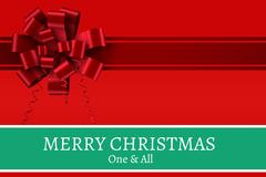 Red Ribbon and Christmas Message Stock Photos