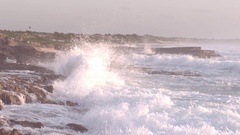 Slow Motion Waves Crashing on Rocks in Cozumel Mexico Stock Footage