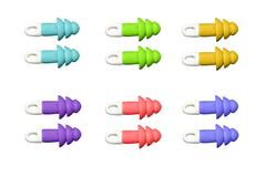 Ear plugs multi-colored on blaсk background Stock Photos