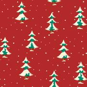 Seamless Christmas pattern with flat colored snowy fir trees Stock Illustration