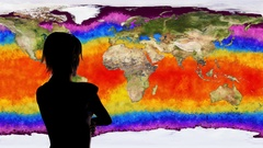 4K Woman Watching Death of Earth Global Warming Simulation Stock Footage