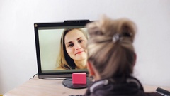 Woman videocall Stock Footage