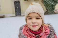 Little beautiful girl walks in Wawel, Krakow Stock Photos