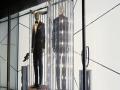 Two male mannequin presenting luxury suits Stock Footage