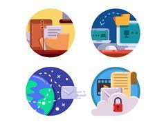 Documentation and document management set icon Stock Illustration