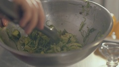 Chef is prepare fresh seaweed salad, close up Stock Footage
