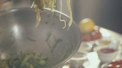 Fresh seaweed salad with seafood, close up Stock Footage
