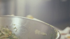 Chef is cooking salad with seaweed, close up Stock Footage