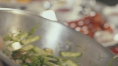 Cooking salad with seafood, close up Stock Footage
