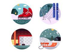 Winter sports icons set Stock Illustration