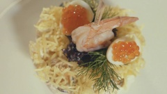 Seafood dish at the restaurant kitchen, close up Stock Footage