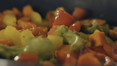 Stir fried vegetables in the pan, slow motion Stock Footage