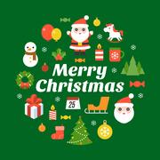 Merry christmas typography font and icon on black background Stock Illustration