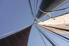Directly below shot of mast of traditional German fishing boat against clear Stock Photos