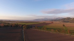 464 Aerial shot, fall landscape, flying above fields and a small river, fil.. Stock Footage