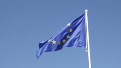 European Union recognizable symbol on pole Stock Footage