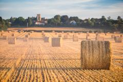 Hay bales in the Cuddesdon countryside Stock Photos