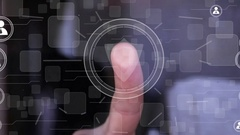Businessman touch button shield web security virus network icon Stock Footage
