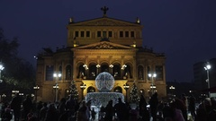 Frankfurt Alte Oper in Christmas Time Stock Footage