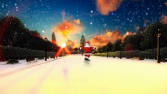 Santa Claus Dancing on a park alley, snowing, holiday background Stock Footage