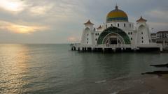 Beautiful Sunset At Malacca Straits Floating Mosque, or Masjid Selat Melaka. Stock Footage