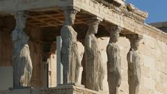 4K Greece Athens Athina Athen Acropolis Parthenon Parthenon Odeon Temple Europe Stock Footage