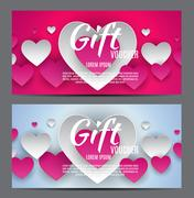 Valentine s Day Heart Symbol Gift Card. Love and Feelings Backgr Stock Illustration