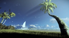 Tropical island, palm trees blowing in the wind and yacht sailing, woman ru.. Stock Footage