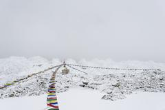 A puja adorned with prayer flags on the Khumbu glacier Stock Photos