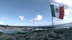 Mexican Flag Waving on Beach in Slow Motion 2 Stock Footage
