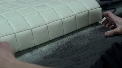 Master produces and handles covers for interiors cars Stock Footage